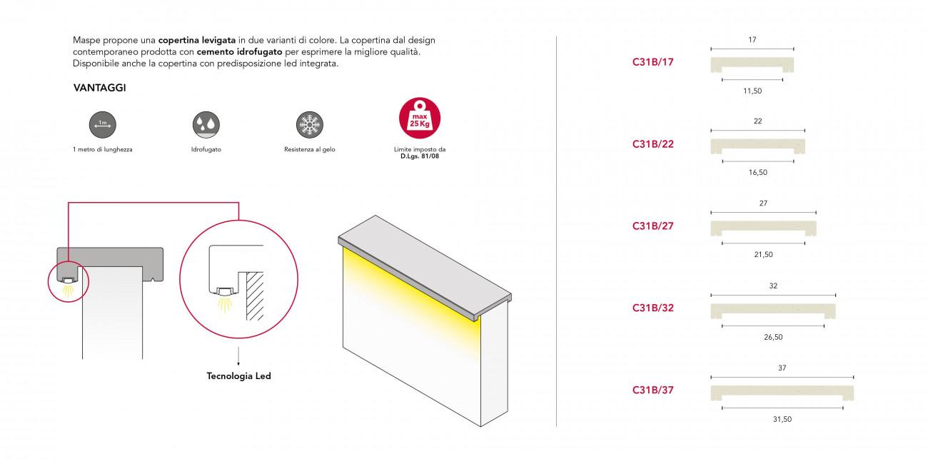 Copertina LED Grigia Levigata